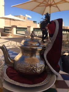 mint tea served in traditional teapot. jemaa el-fna, Marrakesh, Morocco. Top travel destination!
