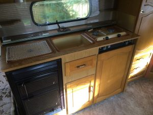 Kitchen unit removed from donor caravan during self build motorhome based on a Citroen Relay