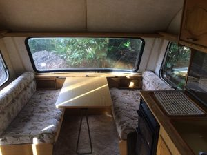 Globetrotter caravan front seating area. Removed and installed into a self build motorhome