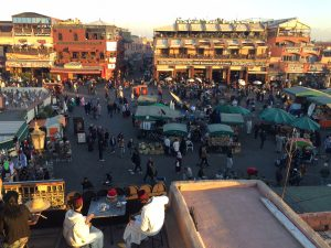 View over jemaa el-fna square in Marrakech, Morocco