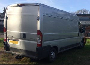 Self build motorhome converted from silver Citroen van. Rear view
