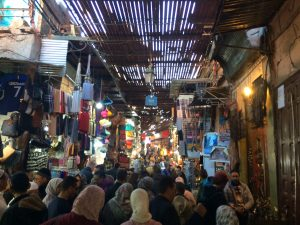 Souks in Marrakech, Morocco. Lots of people in the traditional markets