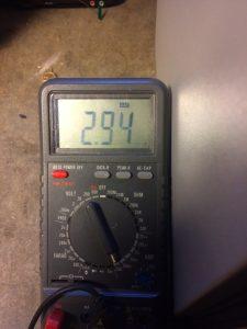 Multimeter measuring Amps