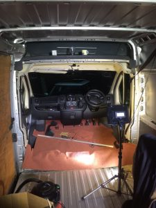 Installing carpet in camper van cab during conversion from a Relay, Ducato or Boxer