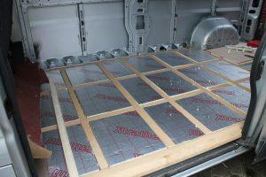 PIR insulation board fitted between framework of self build motorhome floor.