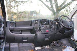 Citroen Relay inside cab during a motorhome conversion