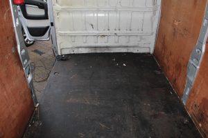 Citroen Relay, Fiat Ducato, Peugeot Boxer Self Build Motorhome Floor. Before Cleaning looking forwards