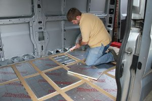 Fixing Xtratherm insulation boards to the floor of a self build motorhome. Base vehicle is a Citroen Relay, Ducato or Boxer