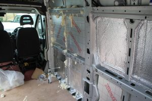 Citroen Relay Motorhome Conversion Lining showing foil bubble wrap and PIR Insulation board