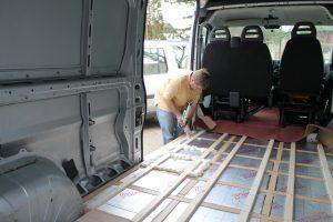 Filling gaps between insulation boards in self build campervan floor. Based on a Citroen Relay.