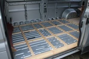 Completed floor framework in a self build camper. Timber battens screwed to the steel of a Citroen Relay, Fiat Ducato or Peugeot Boxer