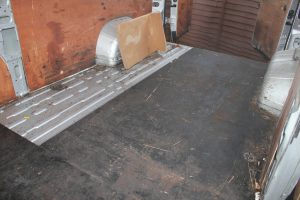 Citroen Relay, Fiat Ducato, Peugeot Boxer Self Build Motorhome Floor. Before Cleaning Rear