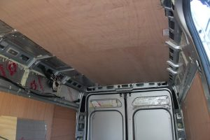 Ply lining on roof. Van conversion
