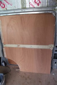 Ply lining in a van conversion. Side panel of a Citroen Relay, Ducato or Boxer