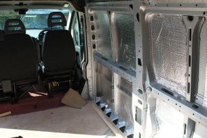 Citroen Relay motorhome lining. Showing foil bubble wrap insulation glued to side panels.