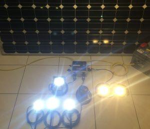 Off grid kit. Solar panel, lights, battery storage