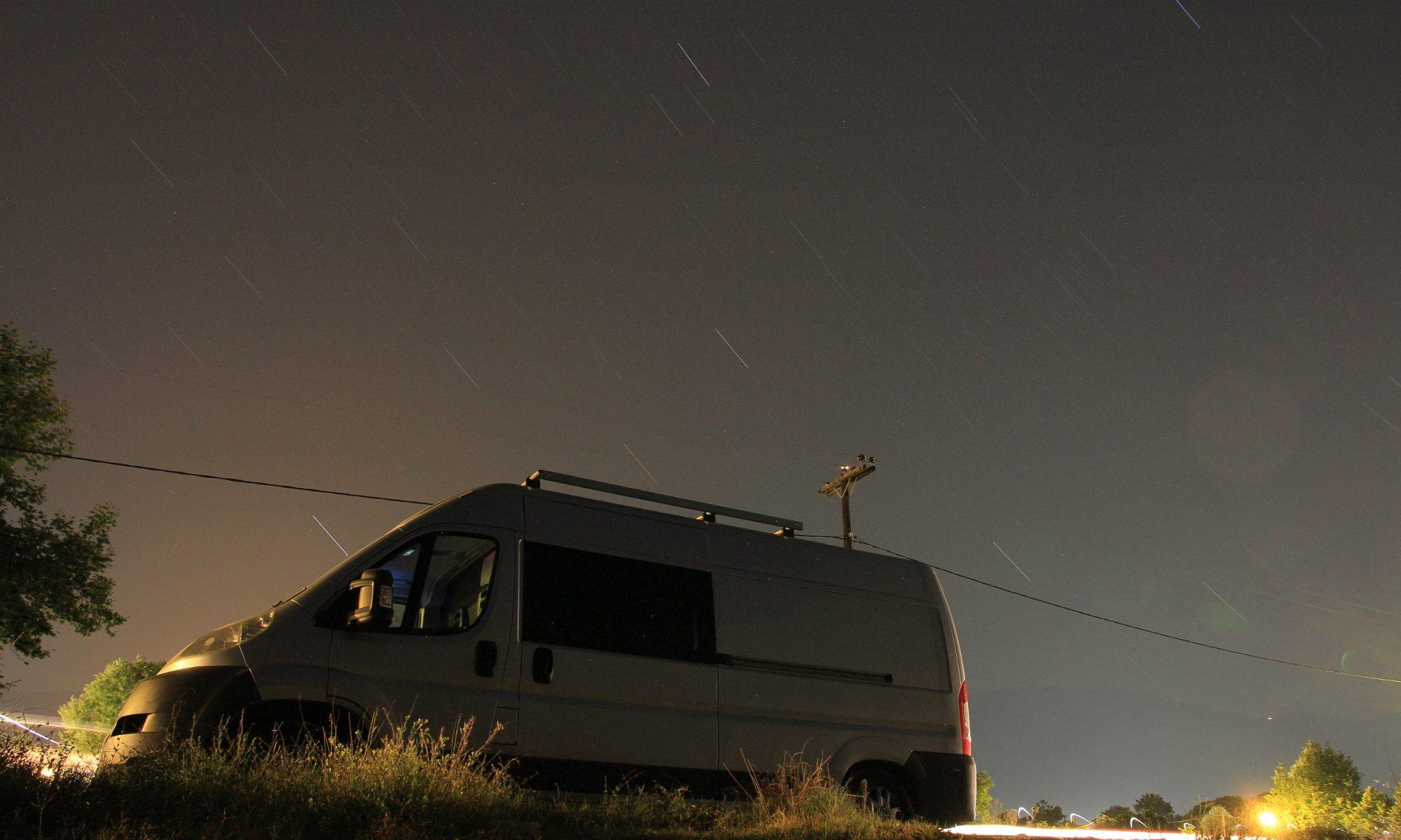 Long Exposure Motorhome at Night