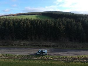 View over A719 near Dunure. Road Trip around Scotland.