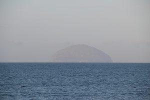 View towards Ailsa Craig, from Girvan, South Ayrshire. Road Trip around Scotland