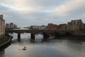 View across River Ayr. Road Trip around Scotland.