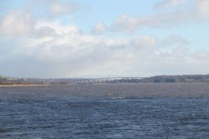 Distant view of Erskine Bridge from Dumbarton. Road Trip around Scotland.