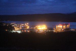 Night view over Gare Loch towards Rosneath peninsula. Road Trip around Scotland
