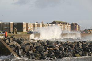 Waves crashing against sea wall at Saltcoats, North Ayrshire. Road Trip around Scotland