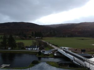 View over Bridge of Oich, River Oich. Highland Road Trip around Scotland