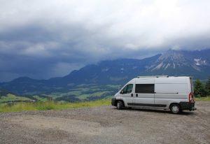 Citroen Relay, Fiat Ducato, Peugeot Boxer Self build campervan overlooking Ellmau during a European Road Trip