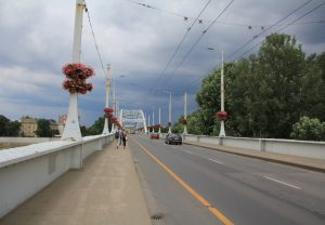 Bridge Across River Tisza, Szeged. Touring Europe - European Road Trip in a self build Citroen Relay camper van