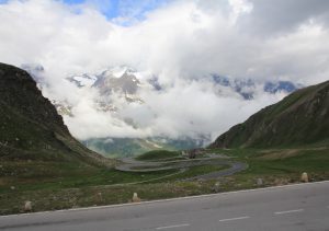 View from the Motorhome at the Top of Großglockner Pass. Austria. Amazing road for a road trip