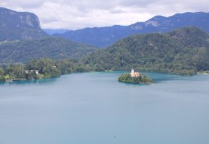 View from Bled Castle. A stunning stop on on Campervan Road Trip through Slovenia
