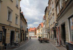 Cobbled street, Ljubljana during our European road trip by motorhome