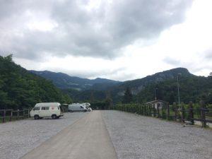 Campervans parked at Bohinjska Bistrica camperstop