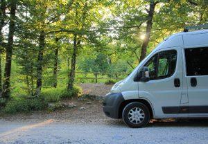Citroen Relay, Fiat Ducato, Peugeot Boxer Self build campervan parked up at Rakov Škocjan during a road trip