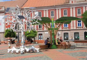 Solar Tree, Timișoara, Romania. Touring Europe - European Road Trip in a self build Citroen Relay camper van