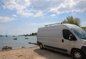 Self Build Campervan based on the Peugeot Boxer, Citroen Relay, Fiat Ducator, Ram ProMaster. Parked up on Yialasi beach, Epidavros, Greece on our European Road Trip