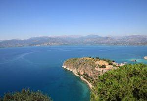 View over sea from Palamidi Fortress, nauplion Greece