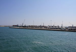 Arriving in the port at Bari, Italy by ferry during our European road trip