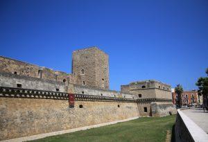 Entrance to Castello Normanno Svevo in Bari, Italy.