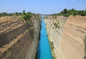 The Corinth Canal. A stunning location to park during a Road Trip around Europe in a self build camper van