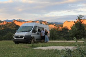 One of our favourite photos of the road trip. Standing in front of sandstone rocks.