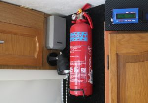 Fire Extinguisher. Essential item for a Motorhome Packing List