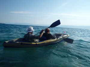 kayak in the sea during our European Road Trip!