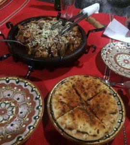 Evening meal, Melnik. The best food on our European Motorhome Road Trip