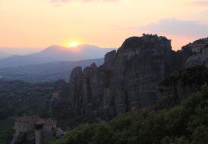 Sunset over Meteora. Road Trip around Europe in a self build camper van