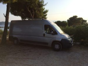 Motorhome parked at the Greek Taverna during our Road Trip