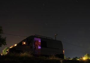 Evening shot of the van at Leptokarya, Greece on our Road Trip around Europe. Citroen Relay self build campervan at night. Same as the Fiat Ducator and Peugeot Boxer!