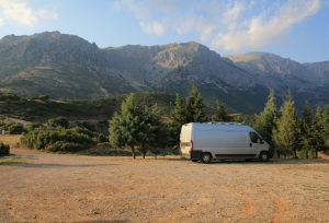 Self Build Campervan  parked up in Greece on our Road trip around Europe. Vehicle shown is a Citroen Relay, the same as a Peugeot Boxer, Fiat Ducato and Ram ProMaster