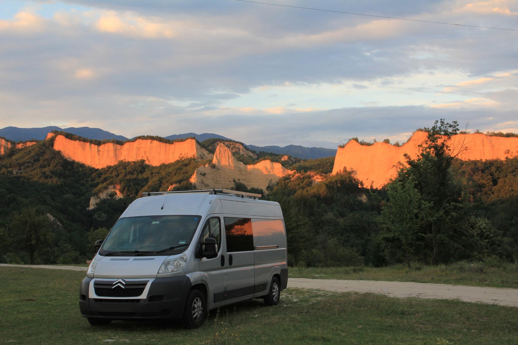 Sandstone rocks behind the campervan in Bulgaria